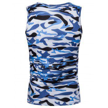 Camouflage Print Pocket Tank Top - BLUE L