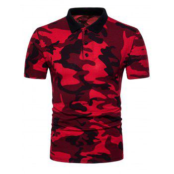 2018 Buttons Camouflage Pattern Polo Shirt RED M In T-Shirts Online Store.  Best Gym T Shirt For Sale | DressLily.com