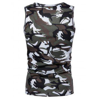 Camouflage Print Pocket Tank Top - GRAY L