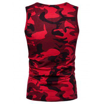 Camouflage Print Pocket Tank Top - RED L