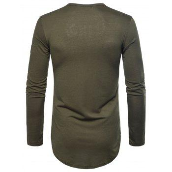 Curved Hem Embroidered Arrow Crew Necklace T-shirt - ARMY GREEN 2XL