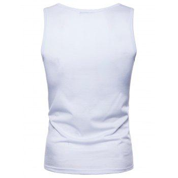 Star and Graphic Printed Tank Top - WHITE L