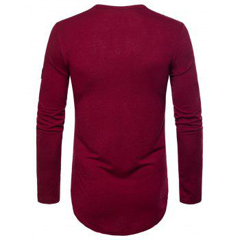 Curved Hem Embroidered Arrow Crew Necklace T-shirt - WINE RED M