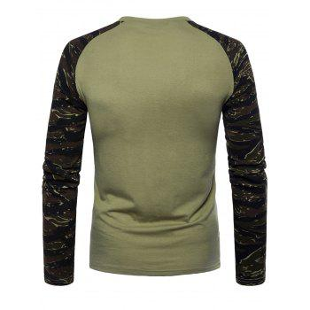 Raglan Sleeve Camouflage T-shirt - GREEN XL