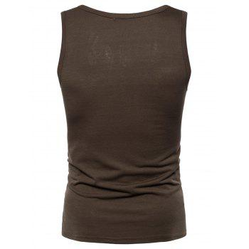 Star and Graphic Printed Tank Top - CAPPUCCINO 2XL