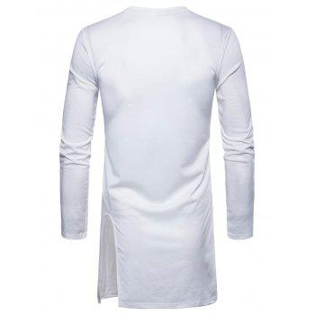 Side Slit Long Sleeve Embroidered Badge T-shirt - WHITE XL
