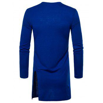 Side Slit Long Sleeve Embroidered Badge T-shirt - ROYAL XL