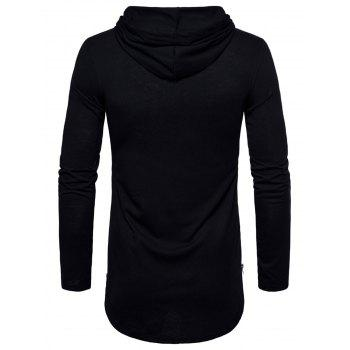 Zip Hem Solid Color Long Sleeve Hooded T-shirt - BLACK XL