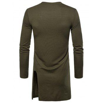 Side Slit Long Sleeve Embroidered Badge T-shirt - ARMY GREEN M