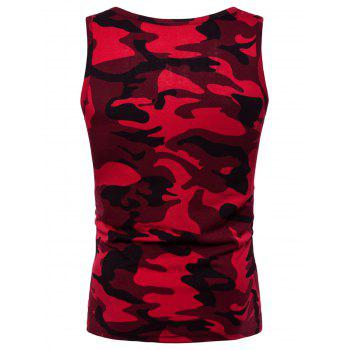 Camouflage Printed Workout Tank Top - RED 2XL