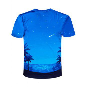 Short Sleeve Coconut Tree Print Hawaiian Tee - BLUE S