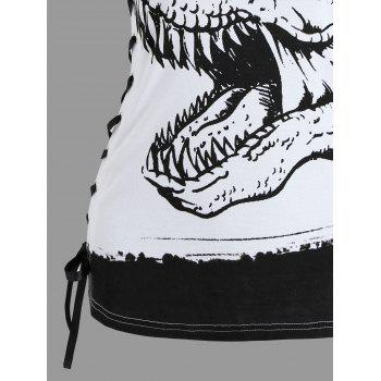 Dinosaur Print Lace Up Tank Top - WHITE S