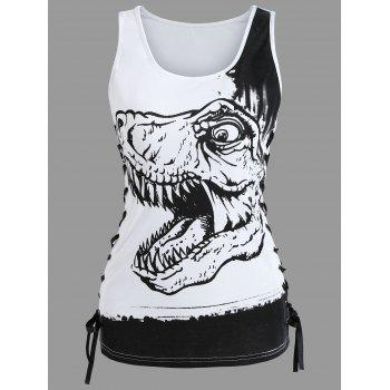 Dinosaur Print Lace Up Tank Top - WHITE M