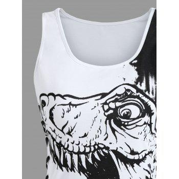Dinosaur Print Lace Up Tank Top - WHITE L