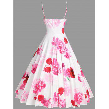Floral Print Spaghetti Strap Dress for Party - PINK/WHITE XL