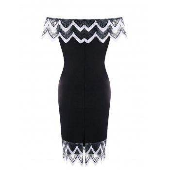 Plus Size Scollpe Edge Pencil Dress - WHITE/BLACK 3XL