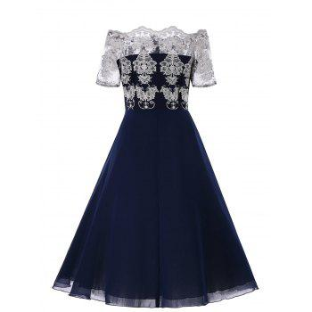 Plus Size Lace Broderie High Waist Dress - BLUE XL