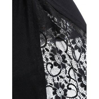 Lace Panel High Low Twisted Tank Top - BLACK S