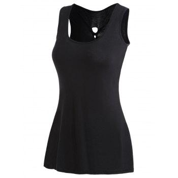 Lace Panel High Low Twisted Tank Top - BLACK XL