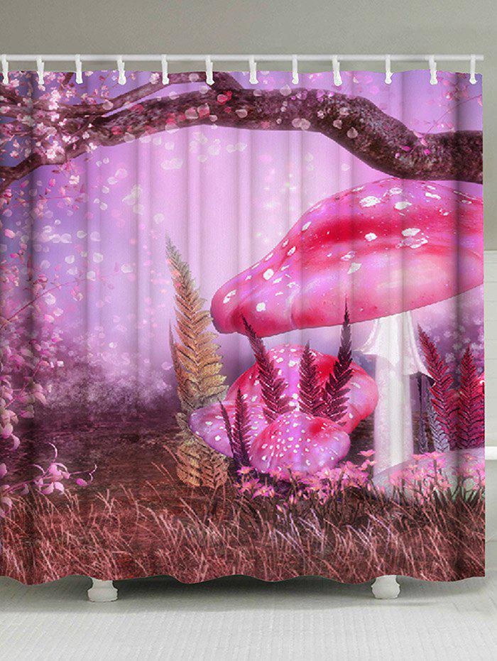 Dreamy Tree Mushroom Print Waterproof Shower Curtain - LIGHT PURPLE W71 INCH * L79 INCH