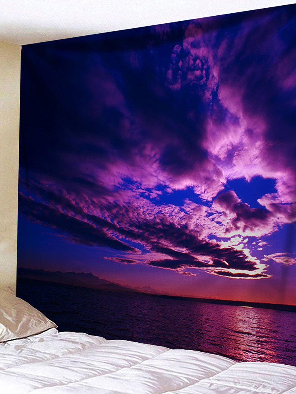 Wall Hanging Art Sunset Scene Print Tapestry - PURPLE W91 INCH * L71 INCH