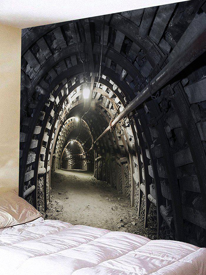 3D Souterrain Printed Waterproof Wall Hanging Tapestry - BLACK W91 INCH * L71 INCH