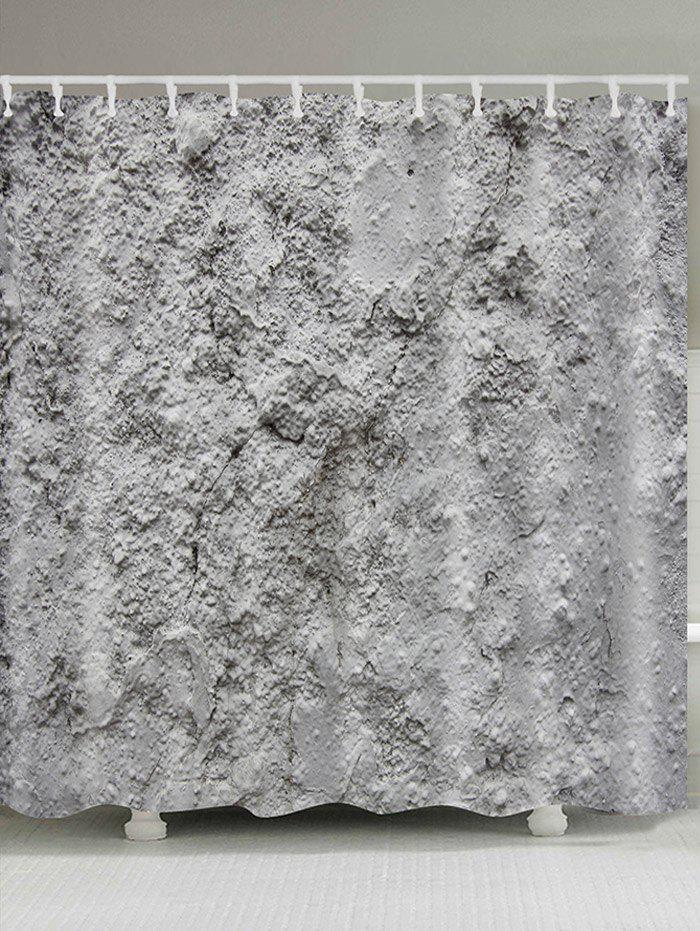 Cement Wall Print Waterproof Shower Curtain - GRAY W71 INCH * L79 INCH