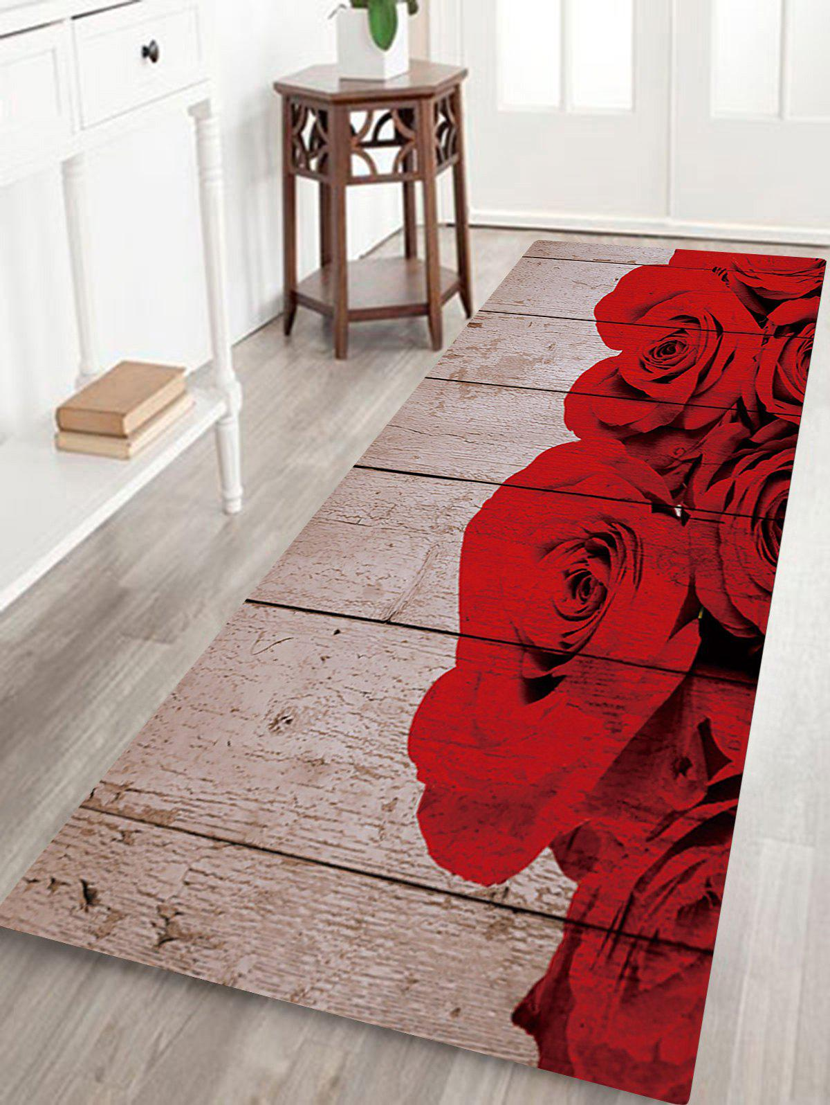 Rose Blossom Plank Printed Indoor Outdoor Area Rug - COLORMIX W24 INCH * L71 INCH