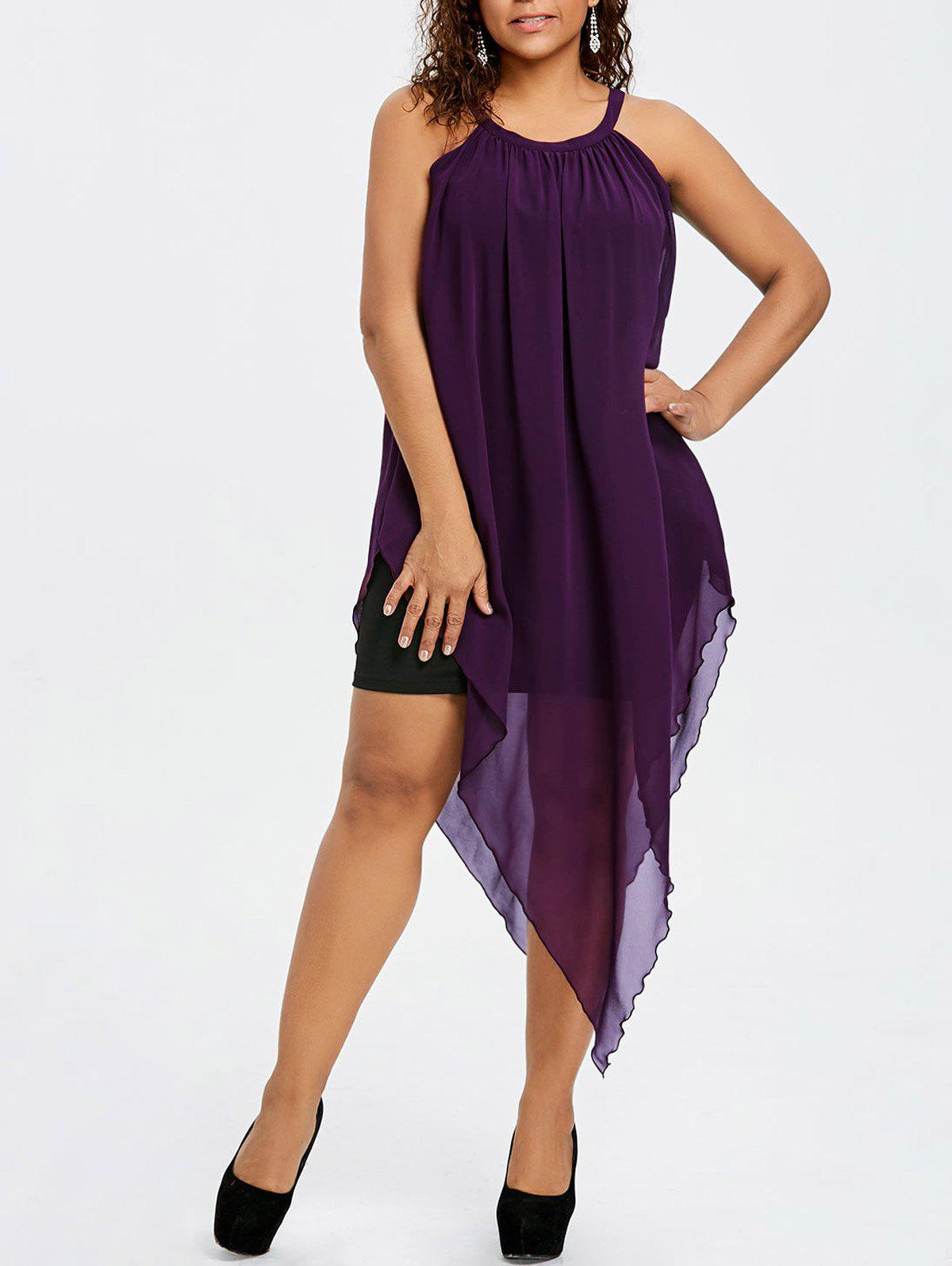 Plus Size Sleeveless Flowing Asymmetric Chiffon Dress - PURPLE XL
