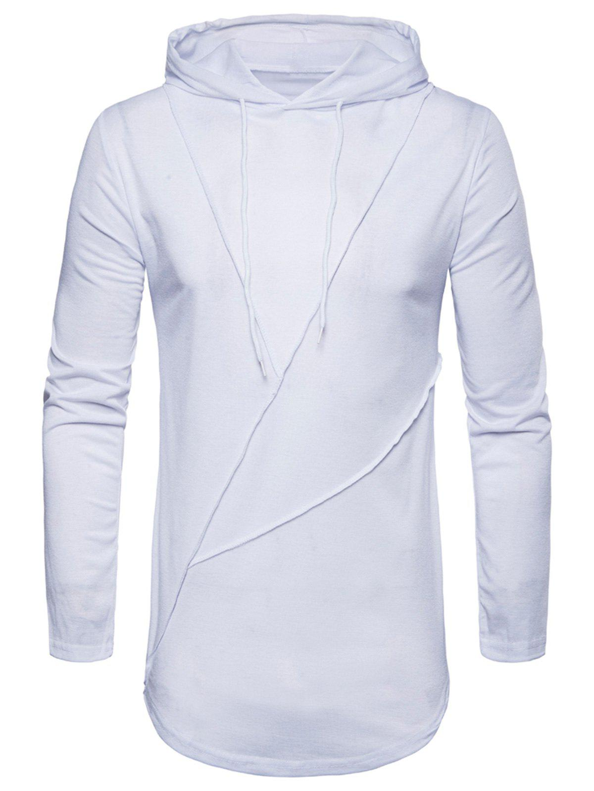 Zip Hem Solid Color Long Sleeve Hooded T-shirt - WHITE M