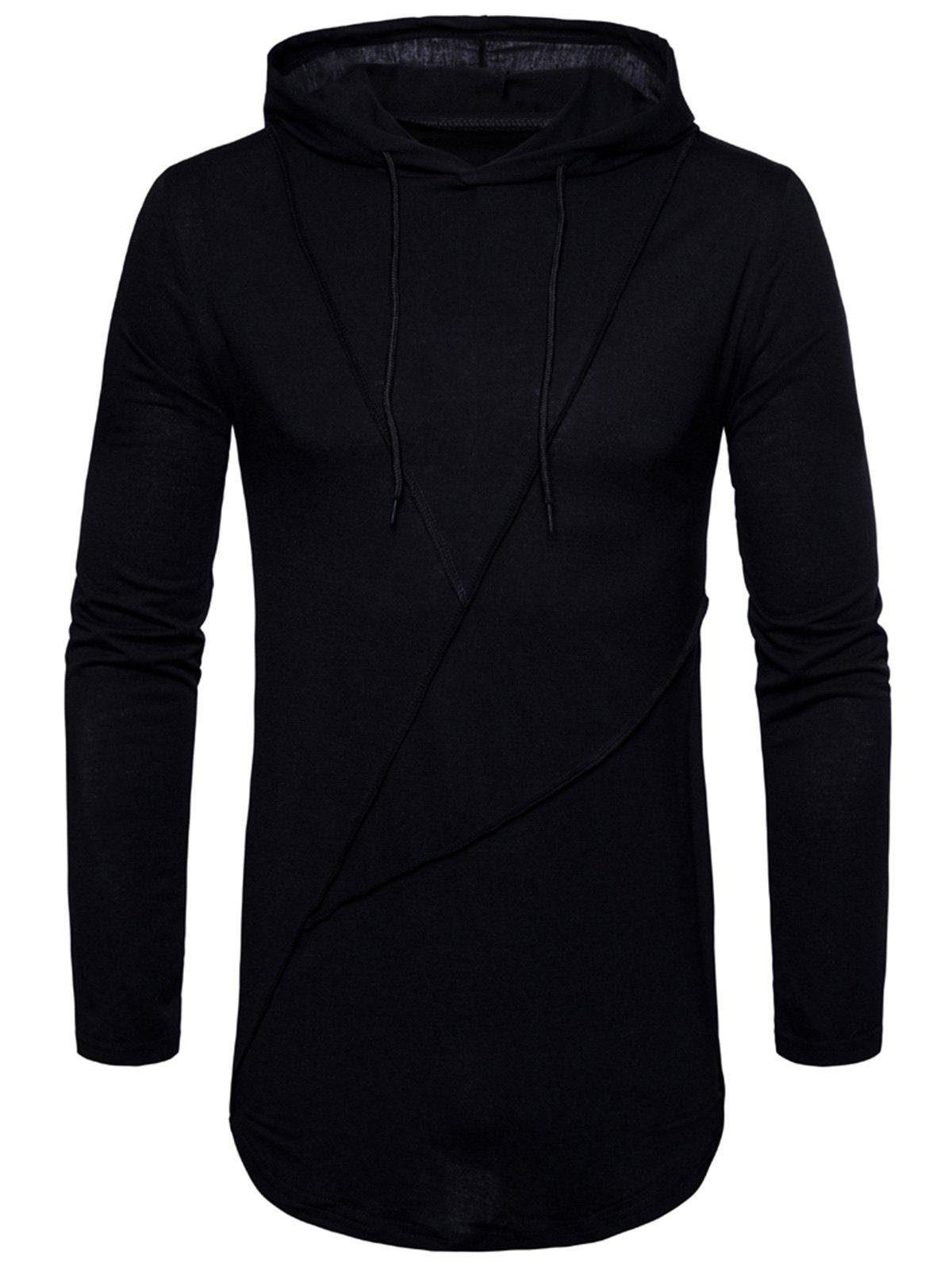 Zip Hem Solid Color Long Sleeve Hooded T-shirt - BLACK 2XL