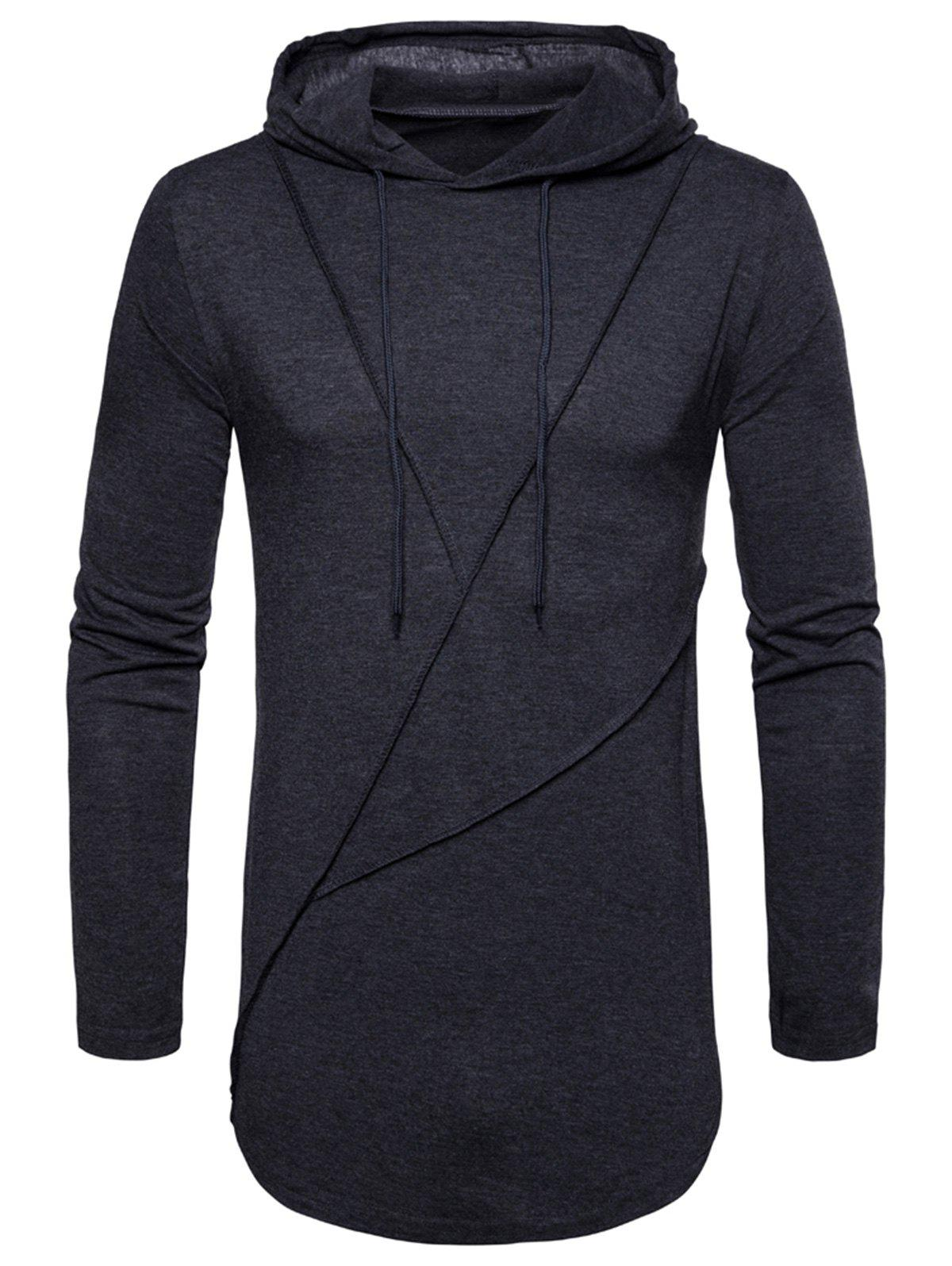 Zip Hem Solid Color Long Sleeve Hooded T-shirt - DEEP GRAY M