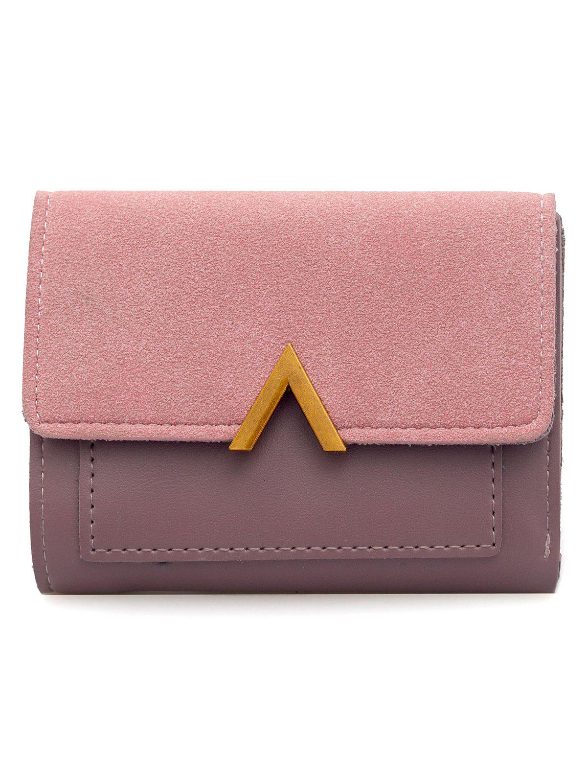 Faux Suede Leather Panel Flap Wallet - PINK