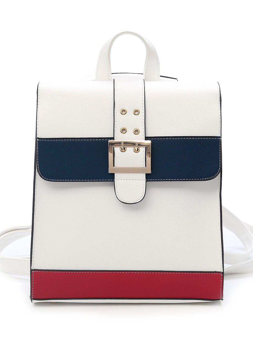 Buckled Flapped Dating Backpack - WHITE