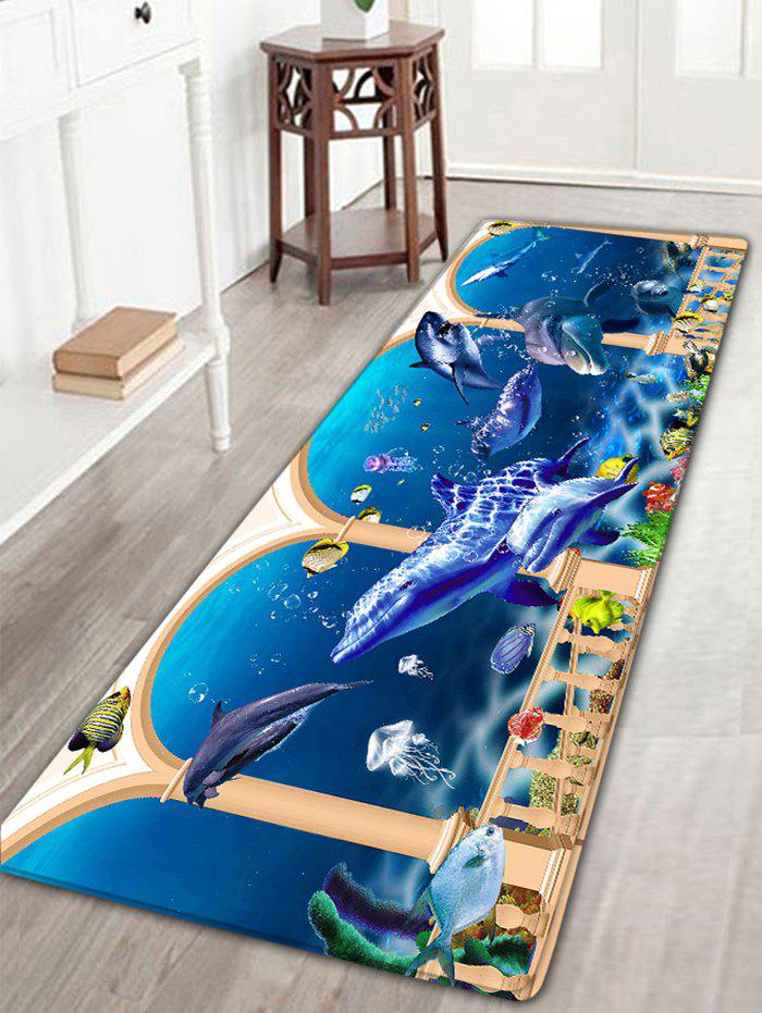 Joyful Dolphin Home Decor Doormat Area Rug - BLUE W16 INCH * L47 INCH
