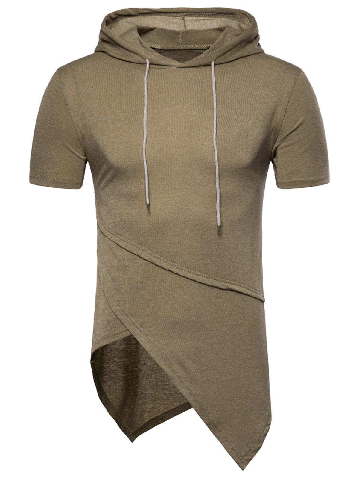 Asymmetrical Solid Color Short Sleeve Hooded T-shirt