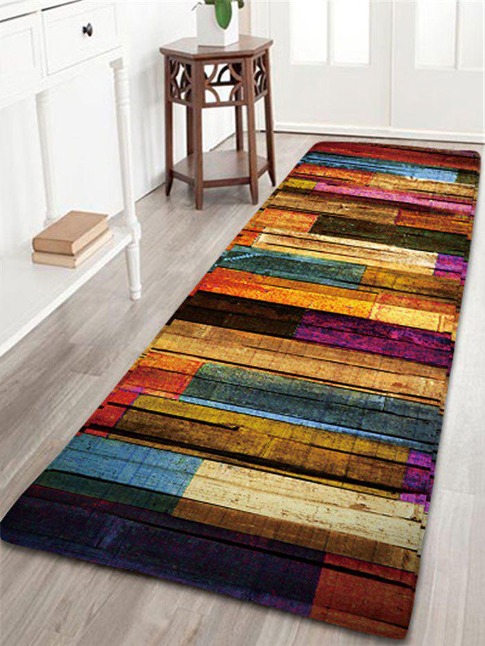 Colorful Stripes Wood Grain Flannel Bath Rug - COLORFUL W24 INCH * L71 INCH