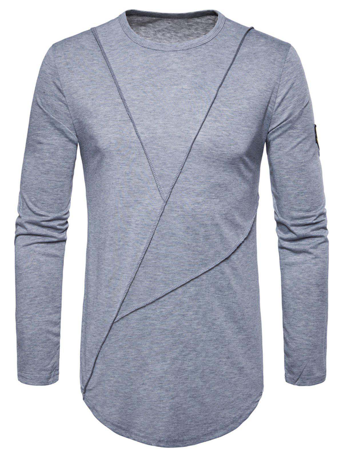 Curved Hem Embroidered Arrow Crew Necklace T-shirt