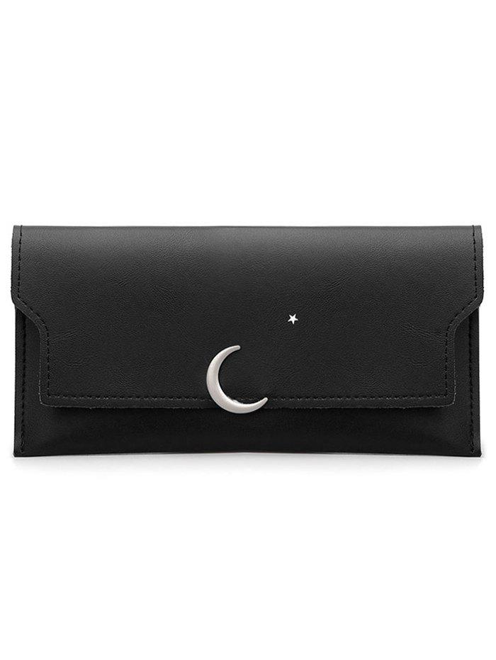 Moon and Star Long Card Holder Wallet - BLACK