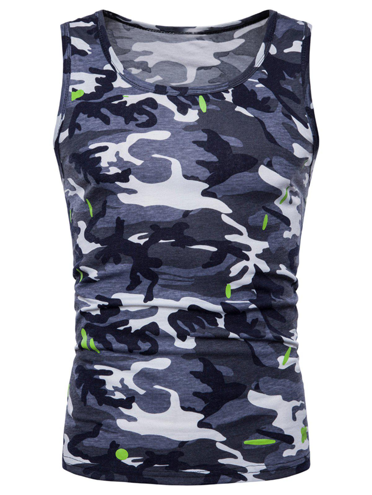Camouflage Printed Workout Tank Top - GRAY XL