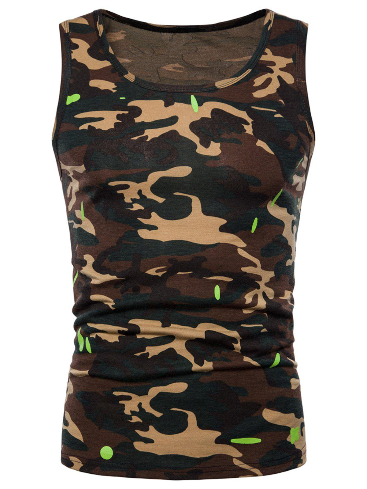 Camouflage Printed Workout Tank Top - GREEN L