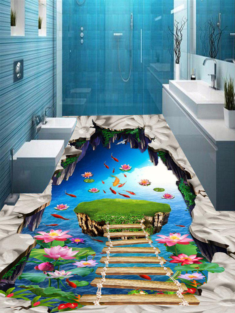 3D Lotus Pond Fishes Bridge Print Floor Stickers - COLORMIX 7PCS:16*71 INCH