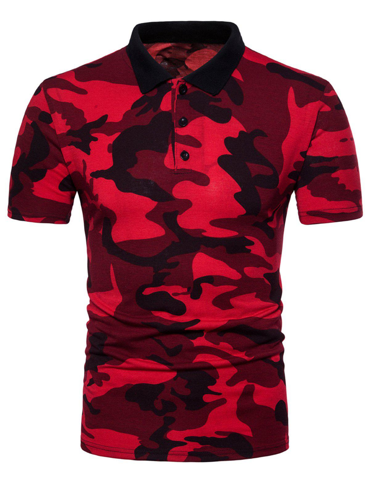 Buttons Camouflage Pattern Polo Shirt - RED M