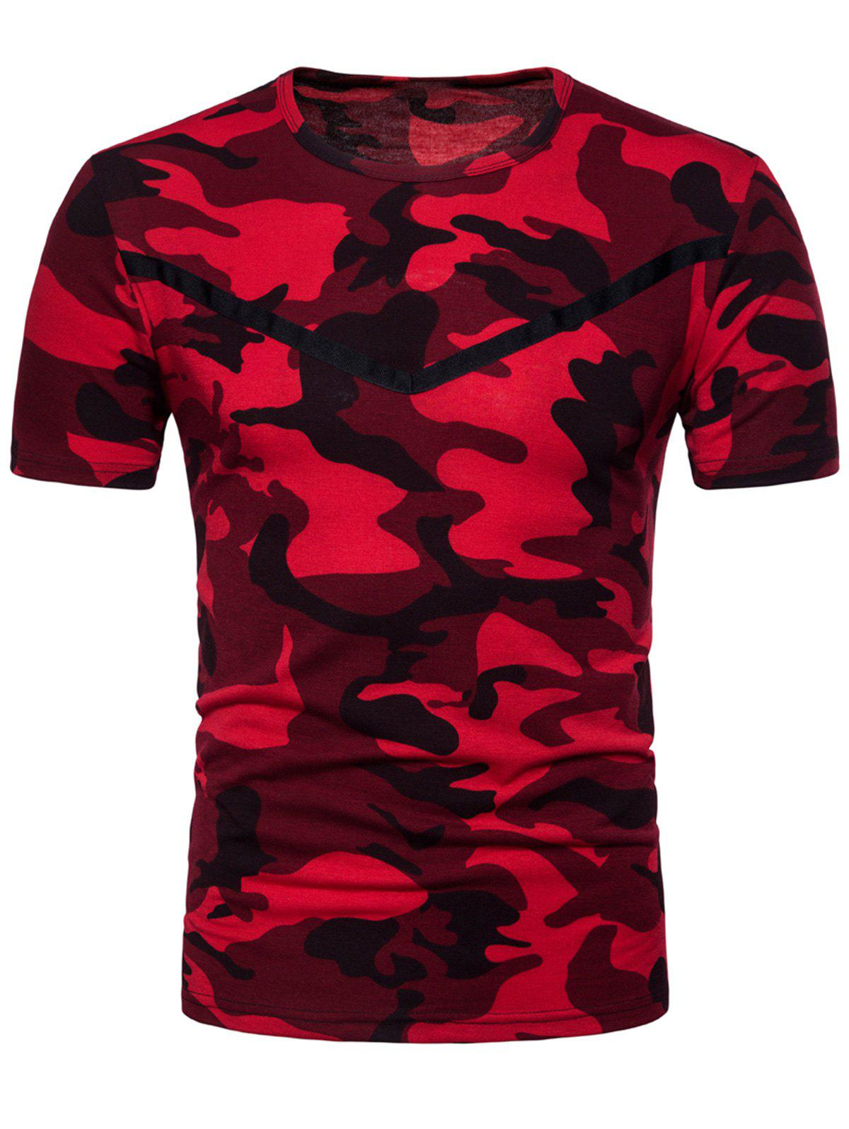 Short-sleeved Camo T-shirt - RED L