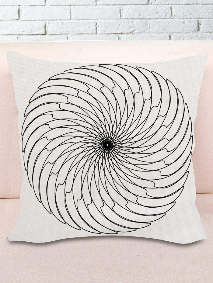 Blade Round Print Decorative Pillow Cover - BLACK WHITE W18 INCH * L18 INCH