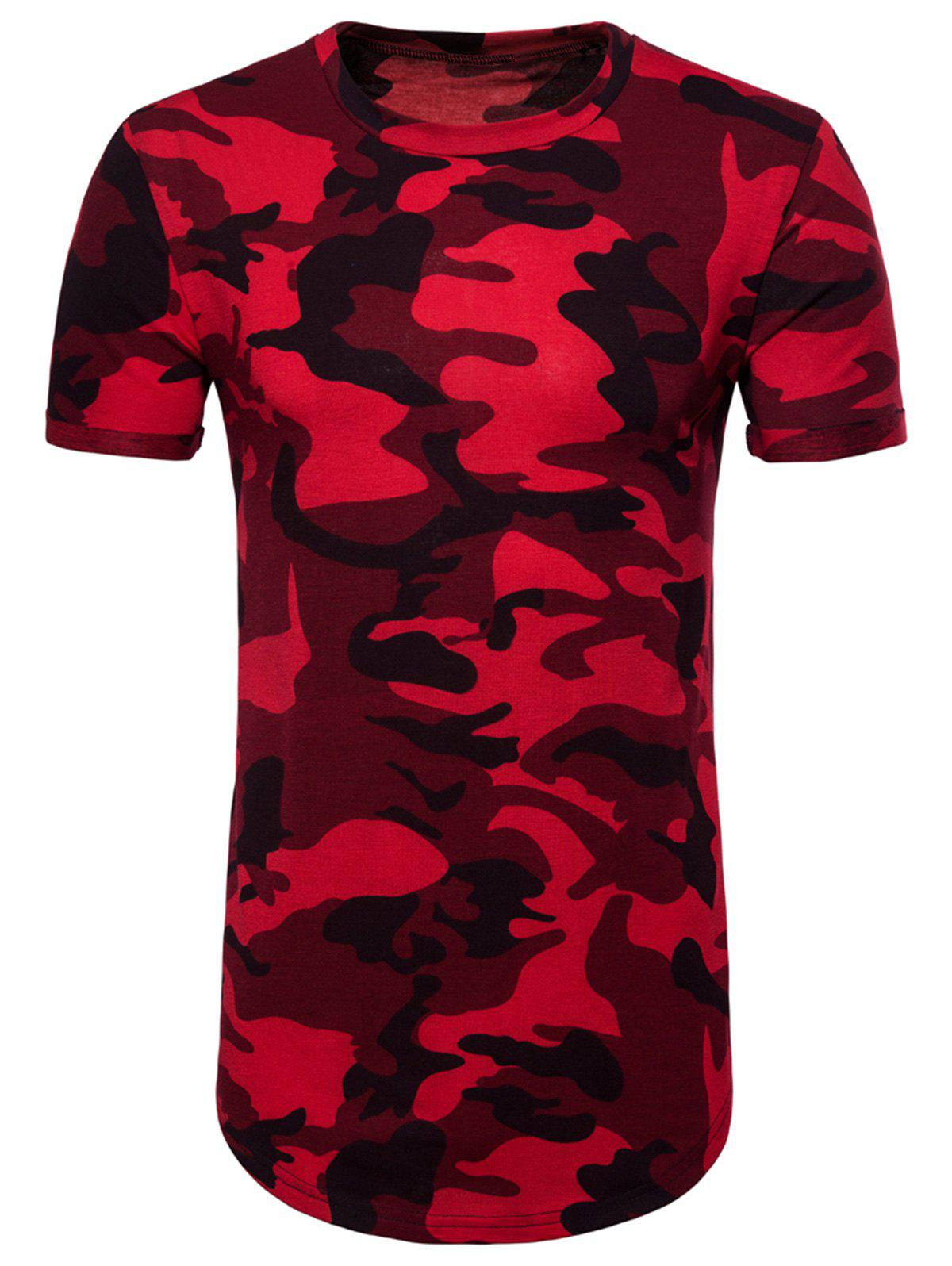 Camouflage Pattern Rolled Cuff Longline Tee contrast tape ruffle cuff tee