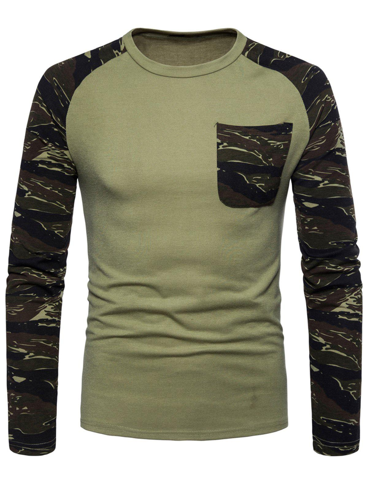Raglan Sleeve Camouflage T-shirt - GREEN 2XL