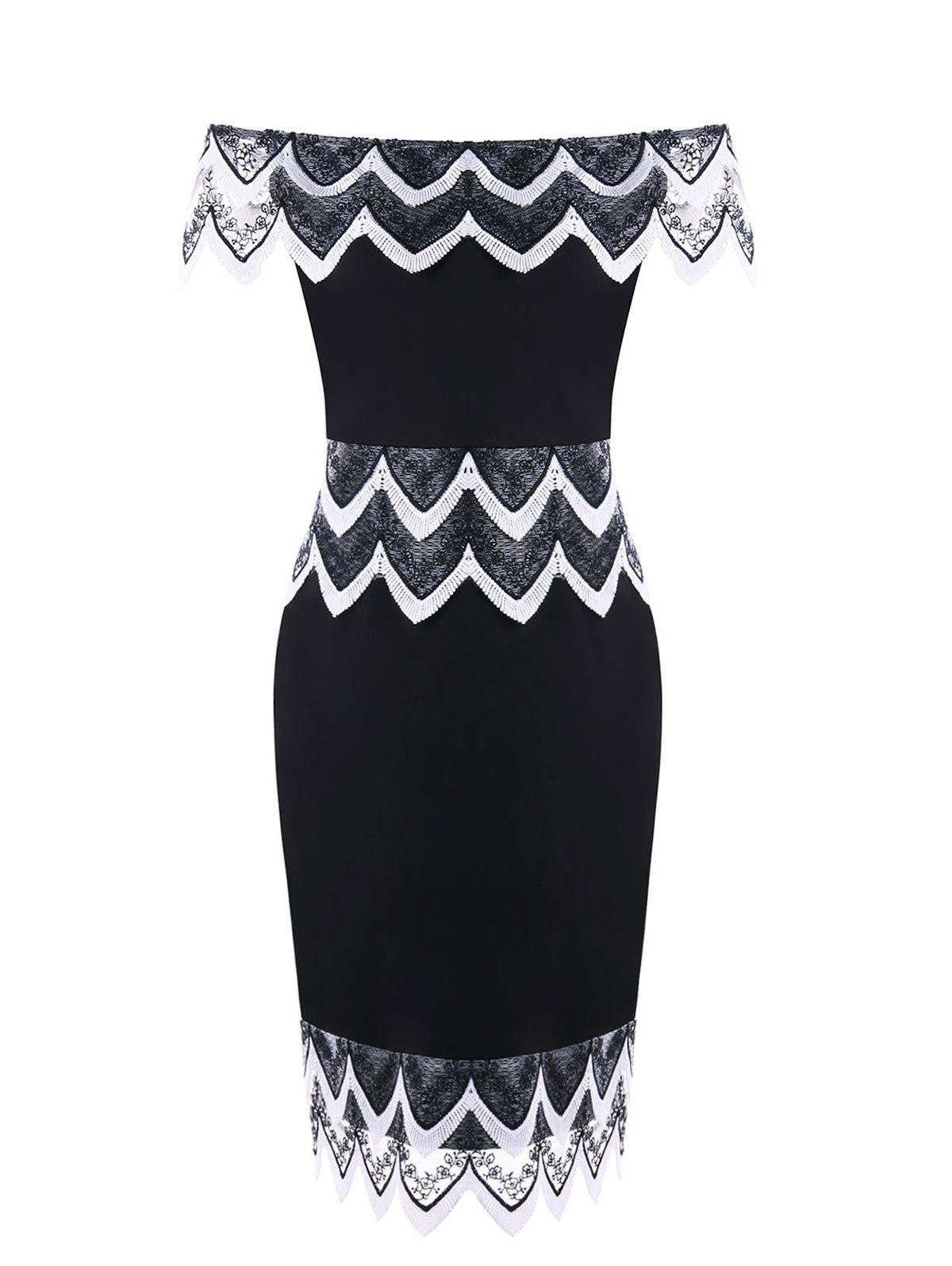 Plus Size Scollpe Edge Pencil Dress - WHITE/BLACK 2XL