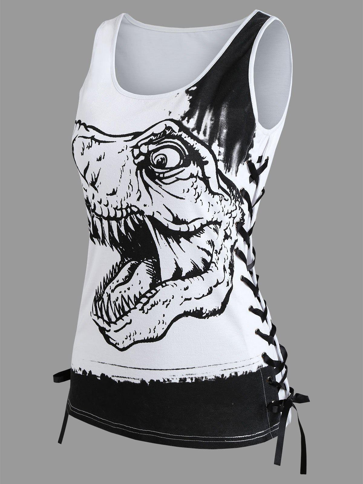 Dinosaur Print Lace Up Tank Top - WHITE 2XL