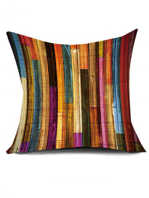 Rainbow Wood Plank Print Decorative Pillow Cover - COLORFUL W17.5 INCH * L17.5 INCH